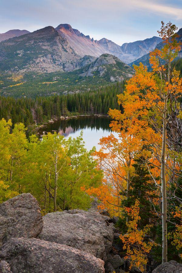 """Autumn Sunset over Bear Lake"". Rocky Mountain National Park, Colorado. Wow! Looks at God's beauty!!"