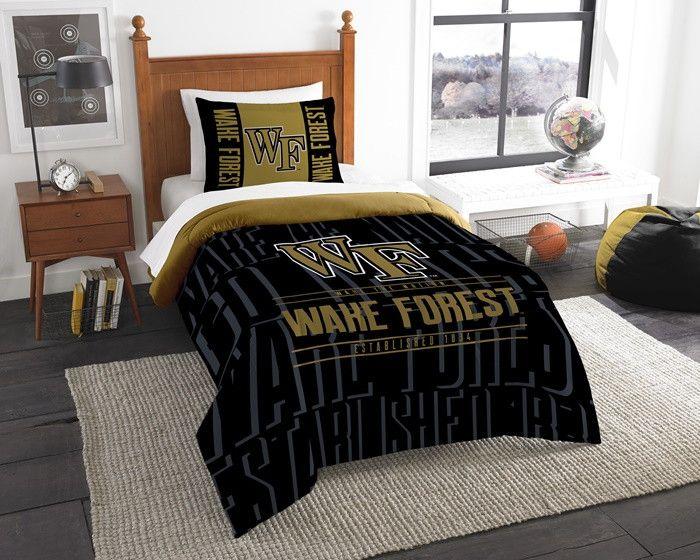 Wake Forest Demon Deacons Modern Take Twin Comforter Set. Includes 1 Sham and 1 Twin Comforter. Visit SportsFansPlus.com for Details.