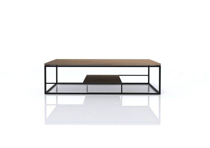 Levardi collection features wood top and lower shelf with book matched waterfall ends between two metal frames. | www.levardi.com