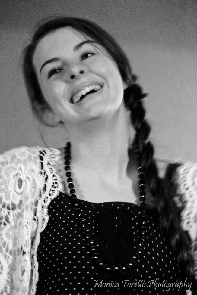 A very happy model at the Upcycle Fashion Show in Invercargill.  June 14, 2013.