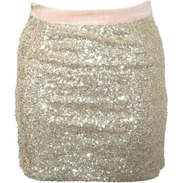 Rare London Mini Sequin Skirt ($13) ❤ liked on Polyvore