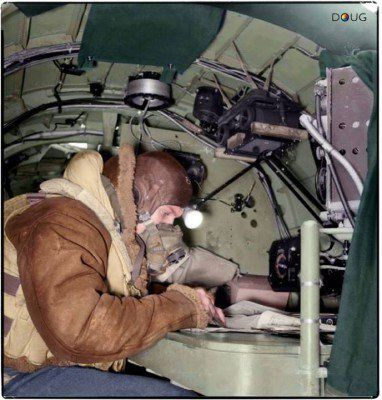 Flying Officer Philip Ingleby 137140, the navigator of an Avro Lancaster B Mark III of No. 619 Squadron RAF based at Coningsby, Lincolnshire, seated at his table in the aircraft. February 1944.  Taking off at 10.50 hrs on the 7th August 1944, the de Havilland Mosquito VI (s/n NT202) AJ-N of No. 617 Squadron, was on a training exercise from R.A.F. Woodhall Spa, Lincolnshire. It had completed three runs over the Wainfleet Sands bombing range and at 11.12 hrs. whilst pulling up...