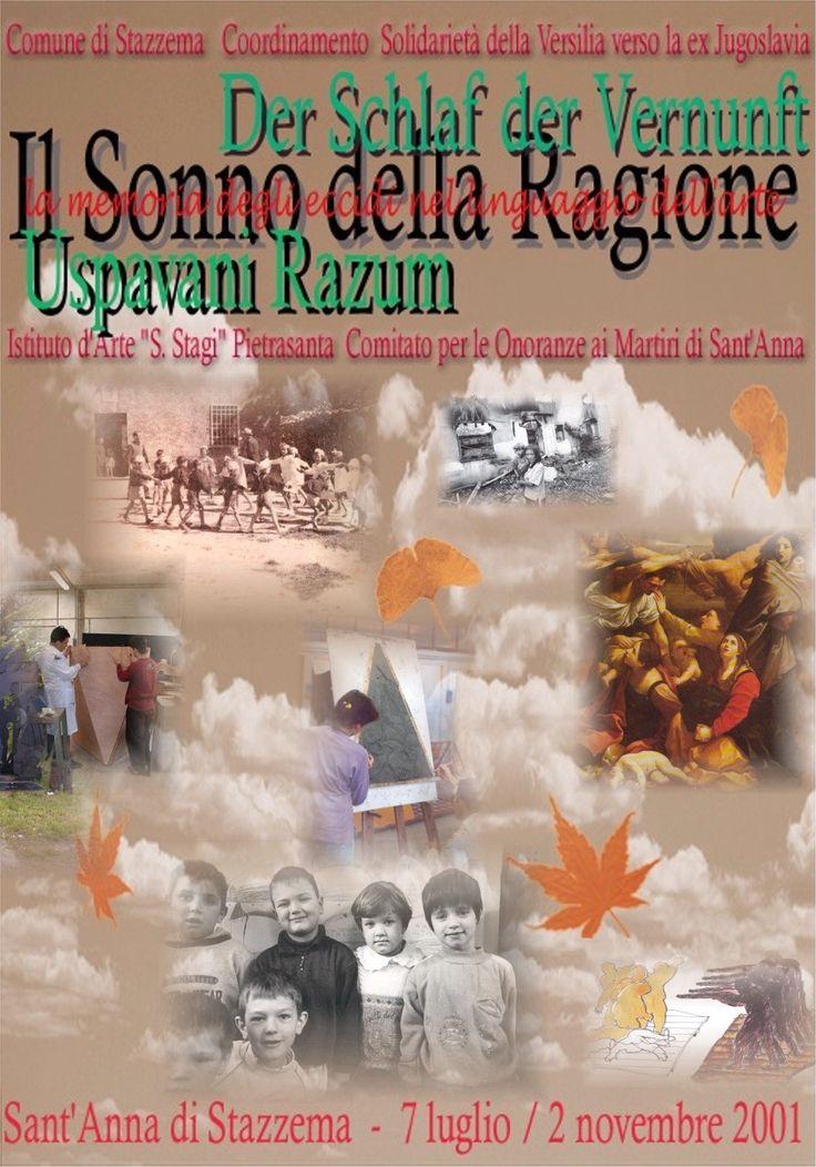"""Manifesto per mostra """"Il sonno della ragione"""", Sant'Anna di Stazzema, a.s. 2000/01. Istituto Statale d'Arte """"Stagio Stagi"""" Pietrasanta."""