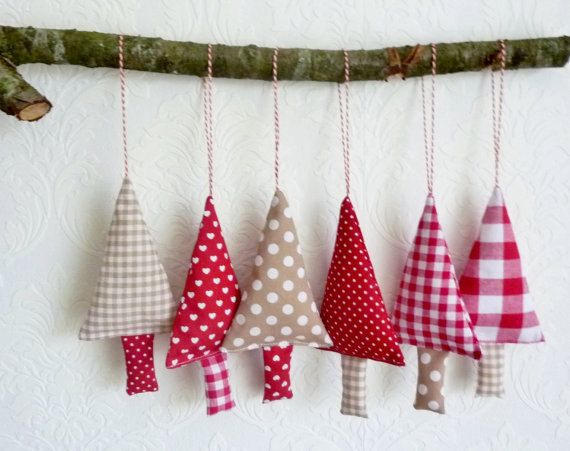 Set of 6 fabric christmas ornaments in the colours red, ecru and white.    Lovely for tree decorations for your christmas tree. Great christmas decor