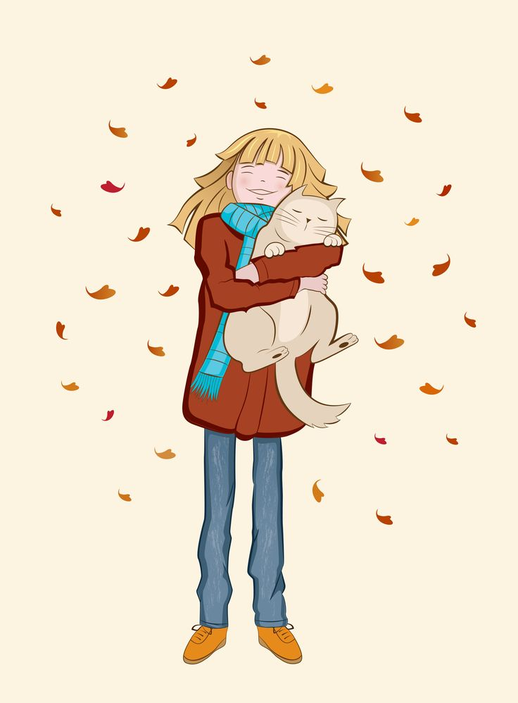 Vector girl with cat