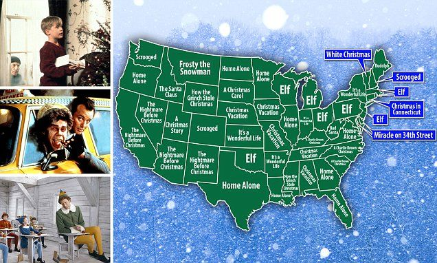 The most popular Christmas movies in US are mapped out by state