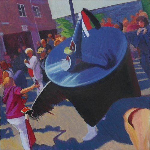 """Padstow """"Obby Oss"""" painting Tom Henderson Smith 80 x 80 cms Acrylic on canvas. Click the picture or 'visit site' to access a link to its Artstack page where there are 'zoom' and 'view in room' facilities."""