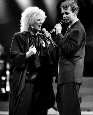 "emptypurgatory: "" Dusty Springfield & Neil Tennant of the Pet Shop Boys performing at the 1988 Brit Awards. """