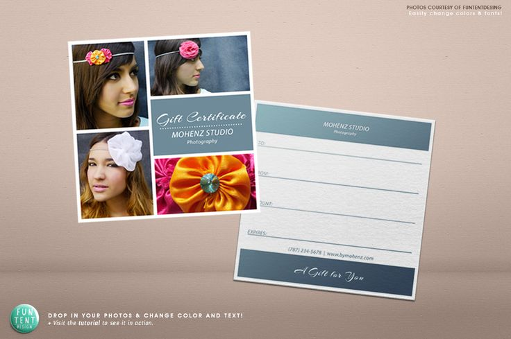 Photography gift certificate voucher by FUN TENT DESIGN on @creativemarket