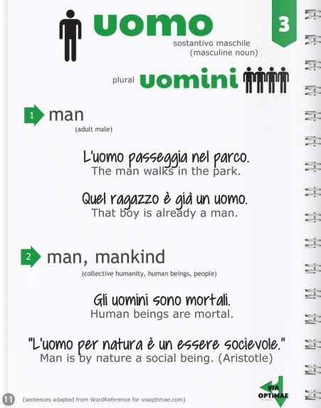 n.003 UOMO definition and examples in ITALIAN: The most-used nouns http://glossi.com/alshay7/84517-italian-the-most-used-nouns