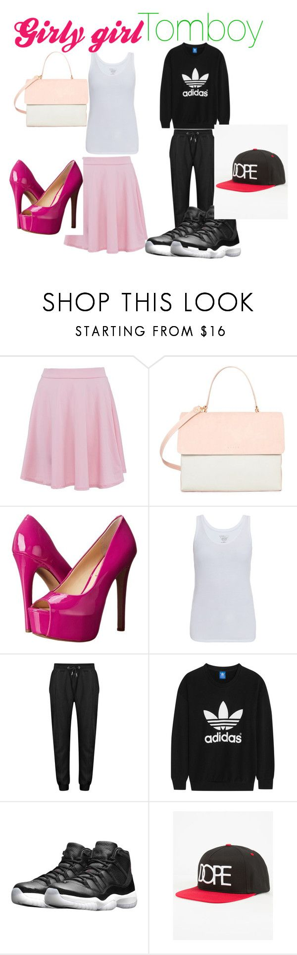 """""""Girly girl and  Tomboy"""" by myadoughty46 ❤ liked on Polyvore featuring Eddie, Jessica Simpson, Majestic, adidas Originals, NIKE, Dope, white, Pink, girly and girl"""