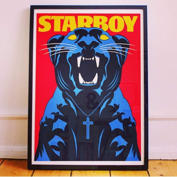 The Weeknd - Starboy poster House so empty need a centrepiece? A totally unique The Weeknd - starboy poster with illustrated panther inspired by the music video and album cover, would make a great addition to any  fans home #starboy #theweeknd #mancave #music #homedeco