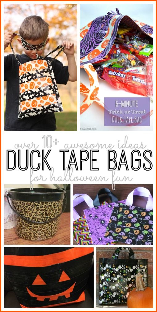 make your own diy Duck tape bags for halloween trick-or-treat duct tape bag, love this idea!! - Sugar Bee Crafts