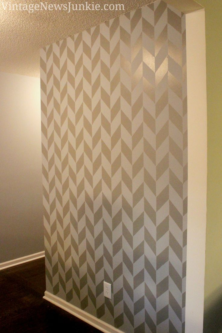 Wall painting stencils printables - How To Paint A Wall Using A Stencil Herringbone Pattern