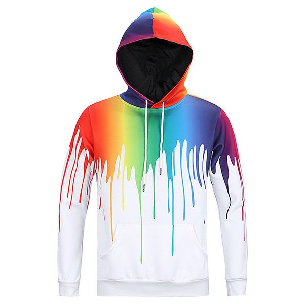 Mens Hoodies Original 3D Colorful Paint Printing Fashion Casual Sport Hooded Tops