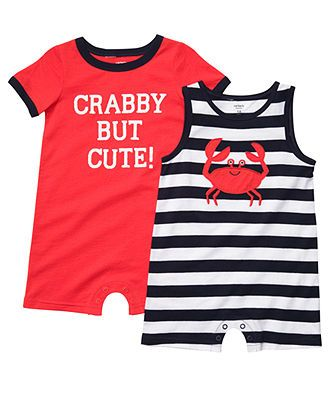 Carters Baby Romper, Baby Boys Crab Romper 2 Pack - Kids Baby Boy (0-24 months) - Macy's