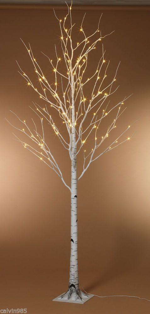 Lot of 2 - 8'  Lighted Birch Trees   Winter Wonderland Wedding Decoration Venue