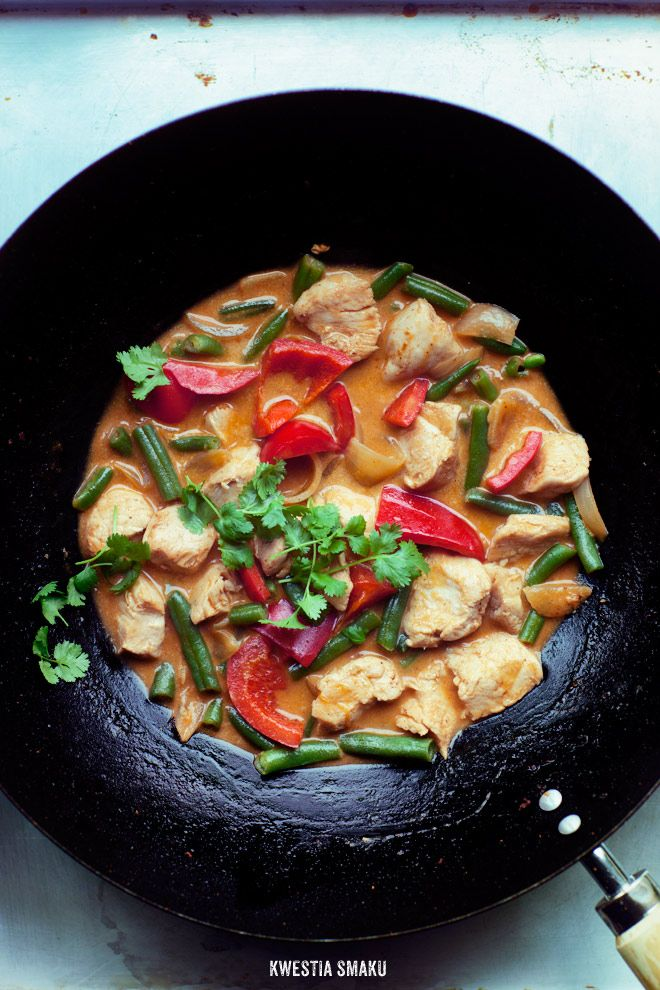 Chicken Curry/• 2 tablespoons vegetable oil • 1 tablespoon red curry paste • 1 large clove garlic • 1 single chicken breast • 1 onion, chopped shallots (or 1/2 small onion) • 1/2 red bell pepper • 2/3 cup green beans (can be frozen) • 200 ml coconut milk • 1 teaspoon sugar (I used palm) • 1 tablespoon fish sauce (if you do not have a soy) To serve: • cooked jasmine rice • Fresh coriander • lime for sprinkling