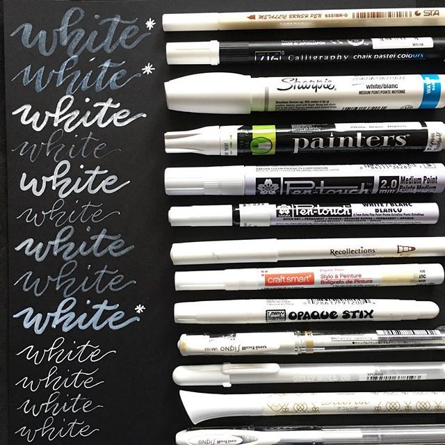 I received a question about what white pens I like when I posted my inventory of gold metallic pens. Here is another baker's dozen, of white pens this time!  The (*) ones have a delayed reaction in appearing after you write. I did not use any oil-based markers, like the ones Sharpie makes because they work only on non-porous surfaces.  I have to say my favorite whites are still the gel pens. The Uniball Signo Broad is my favorite . From top to bottom:  Sta metallic brush pen Kuretake Zig…