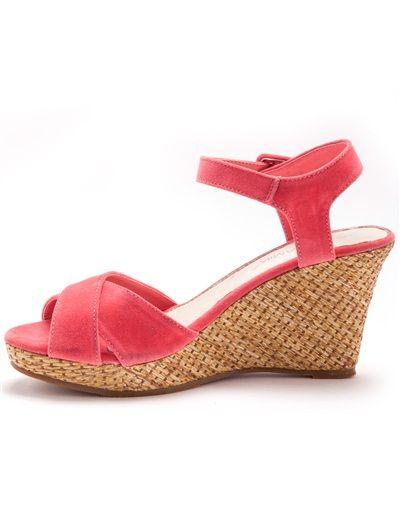Sandales compensées à talon fantaisie CORAIL+NOIR VERNIS