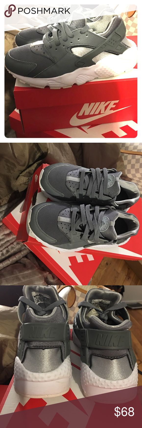 Cool grey. NIKE Huaraches runs (GS) 5Y. Barely used Cool Grey huaraches runs in size 5Y. I'm usually a size 6 so kids sizes in sneakers always fit. Worn atleast 3 times. In great condition. Nike Shoes Sneakers