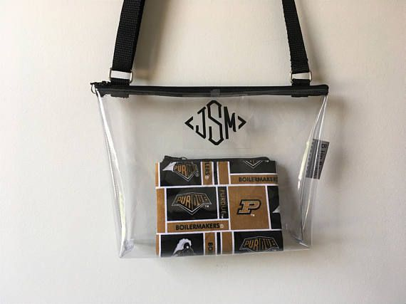 REQUIRED CLEAR BAGS 2017 SEASON! CLEAR STADIUM CROSS BODY SET! PERSONALIZE YOUR BAG! NEW GOLD METALLIC MONOGRAM AVAILABLE! Perfect Clear bag size to carry all your essentials. Purdue Logo Coin Purse for the perfect Game Day Set! Zipper top closure with mini key ring zipper pull to add