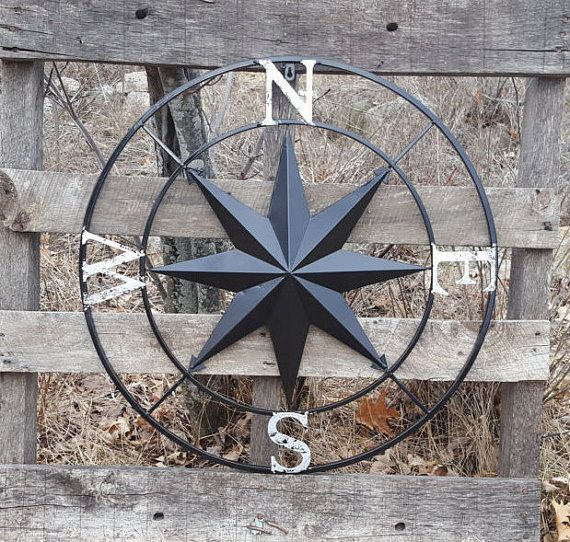 This Huge 27 Metal Compass is beautiful and is a great rustic addition to any indoor/outdoor wall or garden fence. It is Solid metal but is light weight, despite its size, and is nice and easy to handle and display. It has a black finish with the letters N,S,E,W in distressed silver. If you want a different color/colors Just leave a message when you check out. Or If you dont see the color you want in my color chart Just email me a picture of the color you want and I will come as close to it…