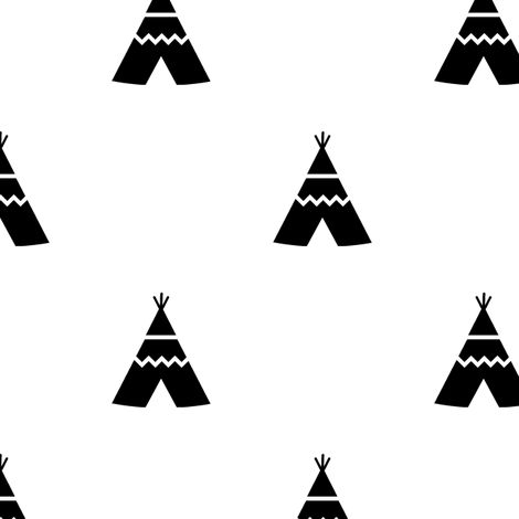 Teepees black on white fabric by kleababy on Spoonflower - custom fabric