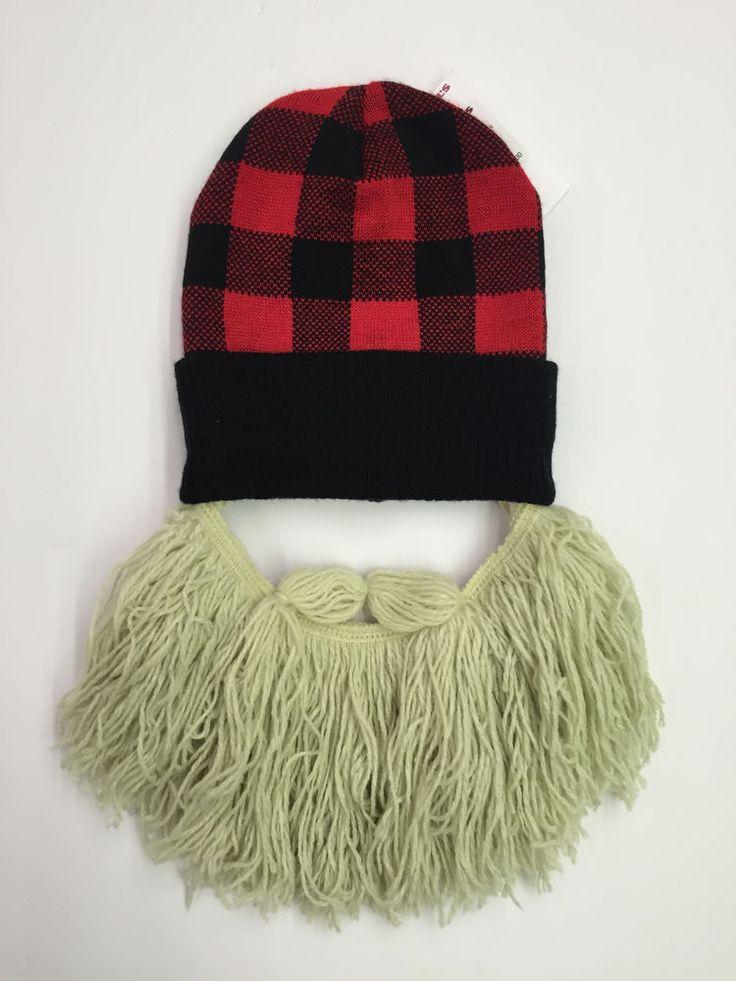 Lumberjack Knitted Cap with Attached Yarn Beard Halloween Costume Bearded Beanie #Unbr #Beanie