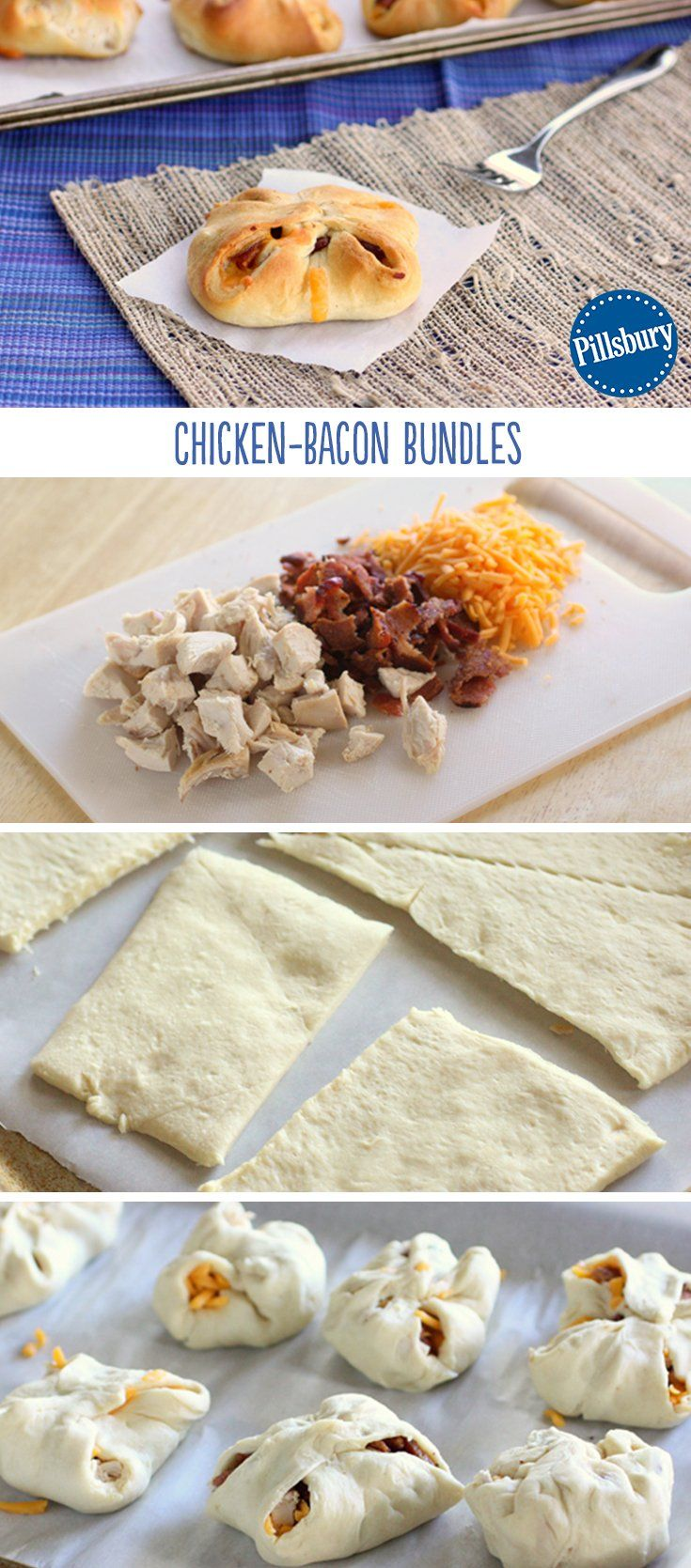 Have leftover cooked chicken? Bundle it up with some cheese and bacon for a quick weeknight dinner! These classic savory flavors are the perfect go-to meal for a crazy day.