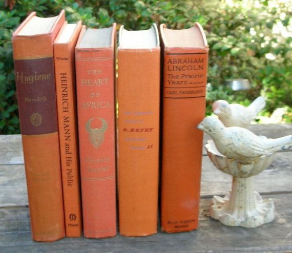 Vintage Tangerine Books Orange Library Decor 5 by EphemeralDesires, $30.00