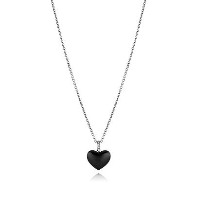 Pandora Sterling Silver Black Onyx Heart Necklace