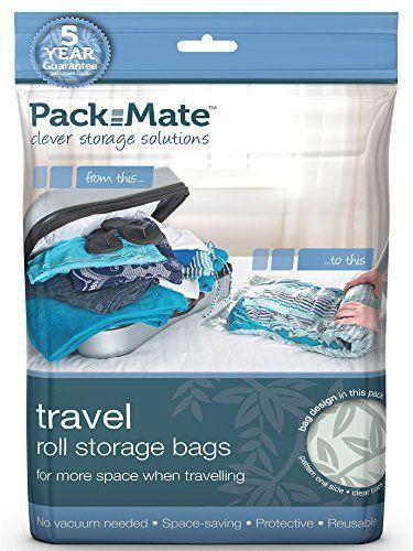 Packmate ® – Lot de 8 housse de rangement sous vide à rouler – pour les vacances/voyages, grandes valises/grands sacs: Contient – x2 Grand…