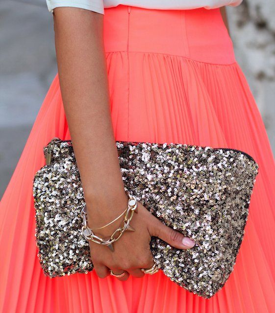 Sequined Clutch Bag from stylebymarina: Style, Handbags, Bright Color, Neon, Clutches, Sequins, Coral Skirts, Glitter, Pleated Skirts
