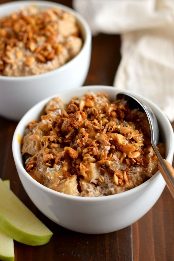 Apple combined with pumpkin and shredded coconut to make healthy apple pie breakfast bowls without oats or grains. Gluten free, dairy free, paleo and vegan.: