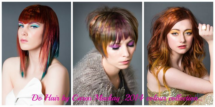 Stencilled hair colour collection.. The vision was a colour effect that looked like light shining on the hair with tones chosen to suit each girls complexion.. Makeup by Amy Murray, photography Jaime Smith..