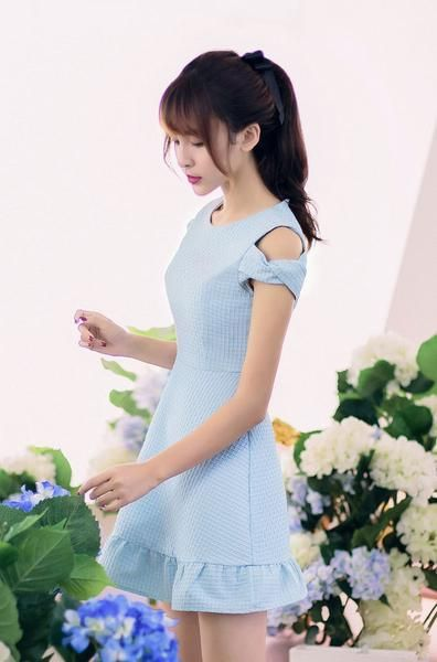 Korean fashion round neck strapless flounced short-sleeved dress…