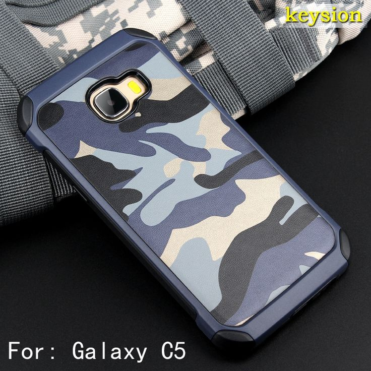 Fashion Camo Phone Case for Samsung Galaxy C5 C5000 Plastic and TPU Hard Cover Camouflage Style Armor Protector C500 C500F Shell