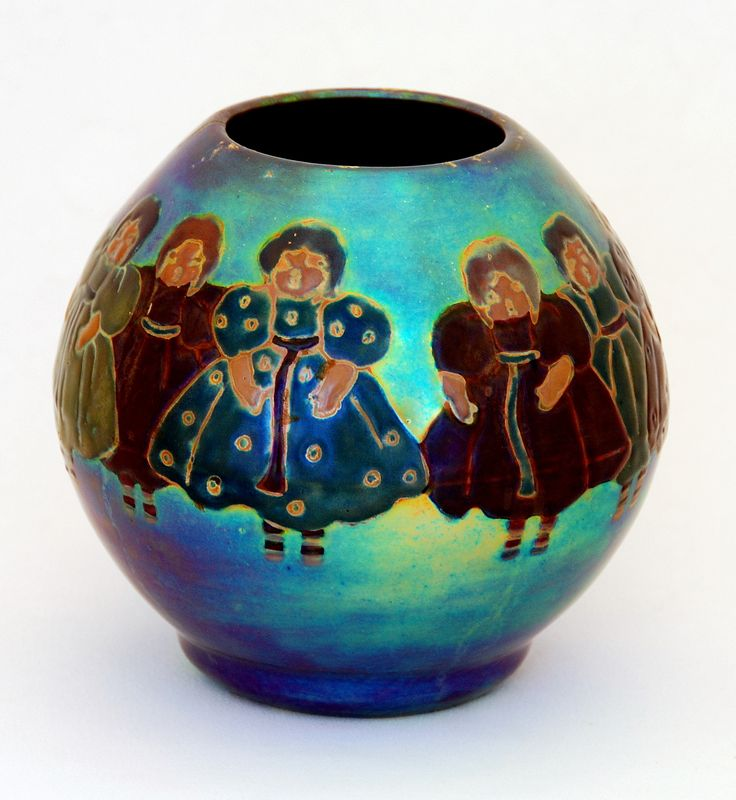 Zsolnay Vase with Little Girls