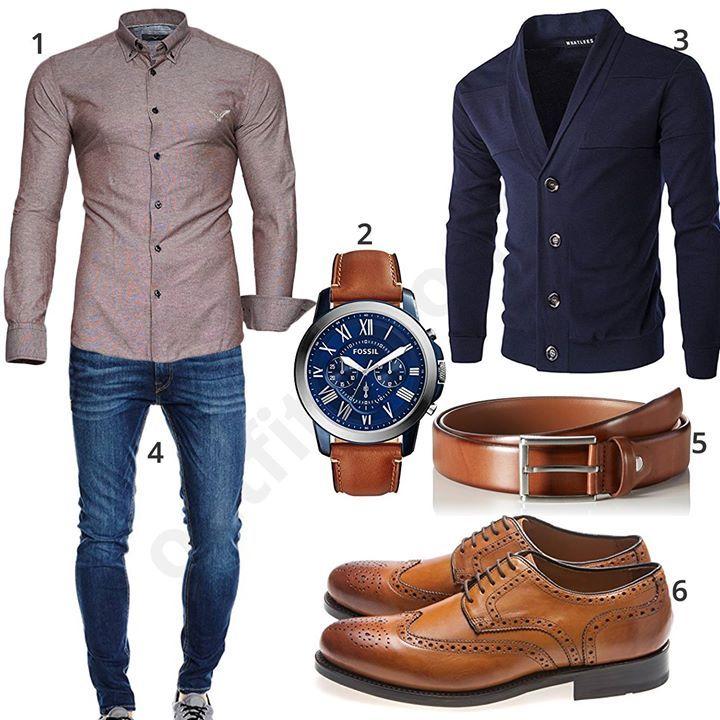 Eleganter Männer-Style mit Kayhan Hemd, blauer Whatlees Strickjacke, Jack & Jones Jeans, Fossil Uhr, schmalem Ledergürtel und Gordon & Bros Schuhen.