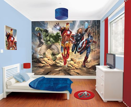 I want this Avengers wall mural for my computer room right now.