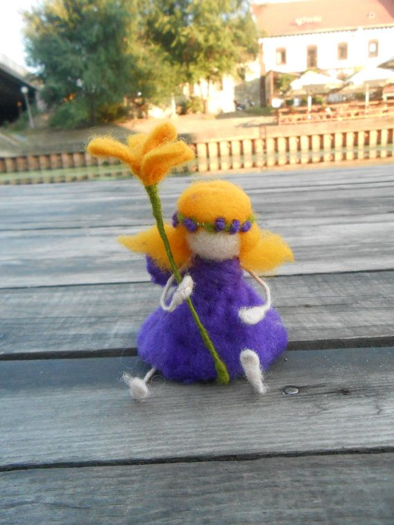 Felted fairy of a yellow flower  Purple fairy  Waldorf by FelThink