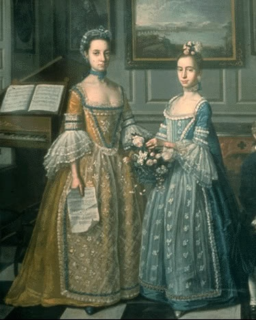 A painting of two girls from around 1720-30 you can see how fashion is changing with more lace and a losser waist but not too lose as the stayes where offten laced so tight as to make the shoulders back until the shoulder blades almost touched but it gave the ideal figure with good posture and a full bosom