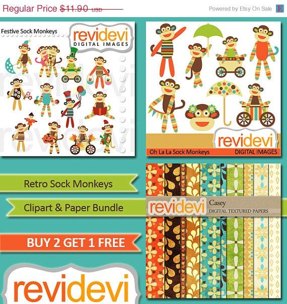 55 OFF Instant Download Clipart Bundle.. Retro Sock by revidevi