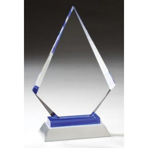 "Our Diamond Glass Award with Silver Base features a clear glass engraving area in the shape of a diamond mounted on a silver metal base.  GL57 is 6"" x 9"" and GL58 is 6"" x 10.25"".  Both include free personalized engraving."
