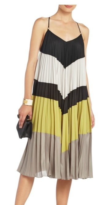 NEW BCBG MAX AZRIA RUNWAY COLOR BLOCK    Old stripes of color come alive on this easy-fit shift, finely pleated and styled with a strappy open-back.