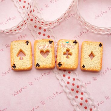 Alice in Wonderland Cookie Poker Cards Cabochons