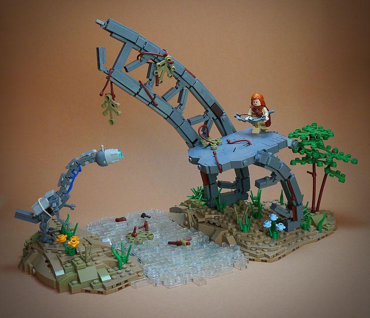 Horizon Zero Dawn by Marcel V. #LEGO #MOC #diorama #bow #ruin #tree #beast