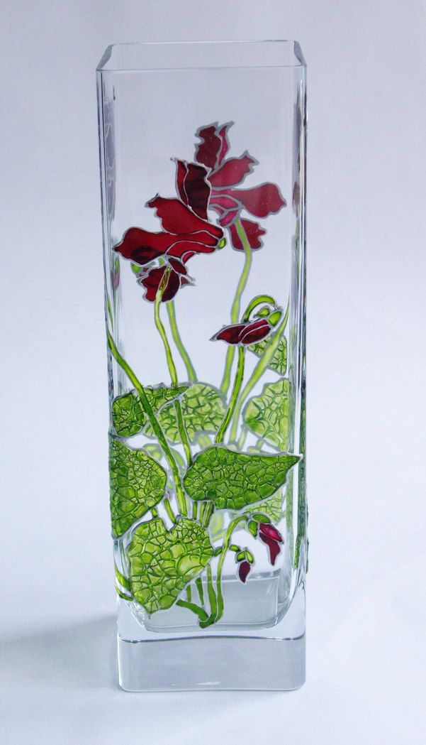 Hand Painted Glass Vase Cyclamen. Flowers cyclamen. by JoyfulGlass