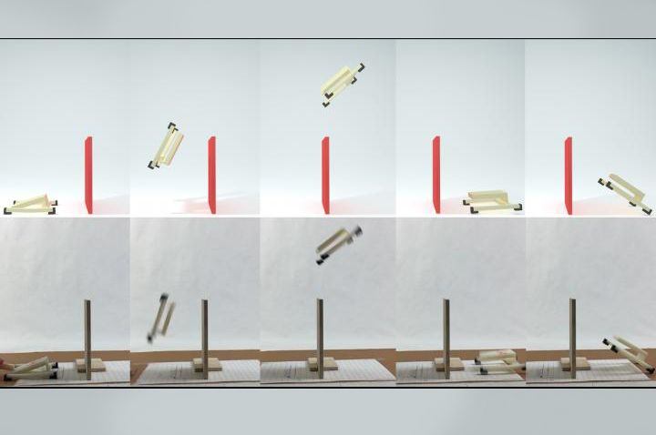 Somersault simulation for jumping robots  In recent years engineers have been developing new technologies to enable robots and humans to move faster and jump higher. Soft elastic materials store energy in these devices which if released carefully enable elegant dynamic motions. Robots leap over obstacles and prosthetics empower sprinting. A fundamental challenge remains in developing these technologies. Scientists spend long hours building and testing prototypes that can reliably move in…